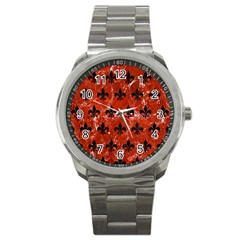Royal1 Black Marble & Red Marble Sport Metal Watch by trendistuff