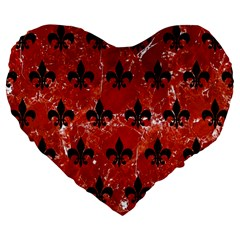 Royal1 Black Marble & Red Marble Large 19  Premium Flano Heart Shape Cushion by trendistuff
