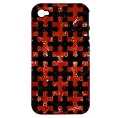 Puzzle1 Black Marble & Red Marble Apple Iphone 4/4s Hardshell Case (pc+silicone)