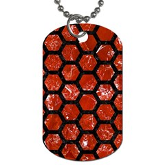 Hexagon2 Black Marble & Red Marble (r) Dog Tag (one Side) by trendistuff