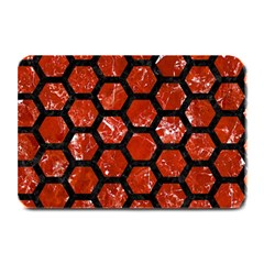 Hexagon2 Black Marble & Red Marble (r) Plate Mat by trendistuff