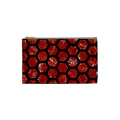 Hexagon2 Black Marble & Red Marble (r) Cosmetic Bag (small) by trendistuff