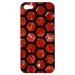 Hexagon2 Black Marble & Red Marble (r) Apple Iphone 5 Hardshell Case by trendistuff
