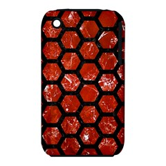 Hexagon2 Black Marble & Red Marble (r) Apple Iphone 3g/3gs Hardshell Case (pc+silicone) by trendistuff