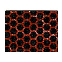 Hexagon2 Black Marble & Red Marble Cosmetic Bag (xl) by trendistuff