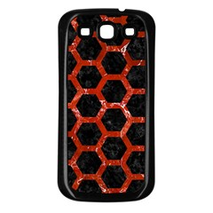 Hexagon2 Black Marble & Red Marble Samsung Galaxy S3 Back Case (black) by trendistuff