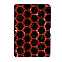 Hexagon2 Black Marble & Red Marble Samsung Galaxy Tab 2 (10 1 ) P5100 Hardshell Case  by trendistuff