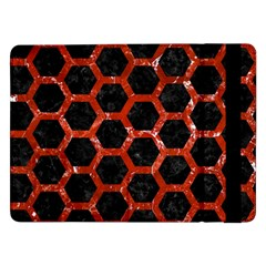 Hexagon2 Black Marble & Red Marble Samsung Galaxy Tab Pro 12 2  Flip Case by trendistuff