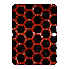 Hexagon2 Black Marble & Red Marble Samsung Galaxy Tab 4 (10 1 ) Hardshell Case  by trendistuff