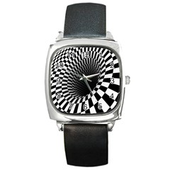 Optical Illusions Square Metal Watch