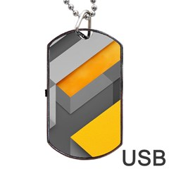Marshmallow Yellow Dog Tag Usb Flash (two Sides)
