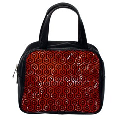 Hexagon1 Black Marble & Red Marble (r) Classic Handbag (one Side) by trendistuff