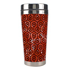 Hexagon1 Black Marble & Red Marble (r) Stainless Steel Travel Tumbler by trendistuff