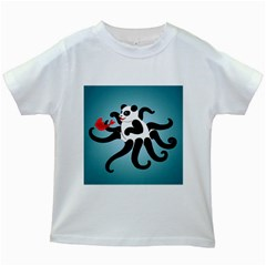Panda Octopus Fish Blue Kids White T Shirts
