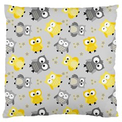 Owl Bird Yellow Animals Large Flano Cushion Case (two Sides) by Jojostore