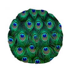 Peacock Feather Standard 15  Premium Flano Round Cushions