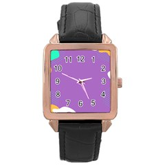 Purple Rose Gold Leather Watch  by Jojostore
