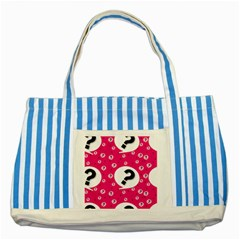 Question Mark Red Sign Striped Blue Tote Bag by Jojostore