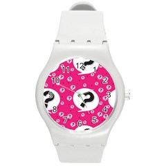 Question Mark Red Sign Round Plastic Sport Watch (m)