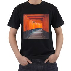 Architecture Art Bright Color Men s T Shirt (black) (two Sided)
