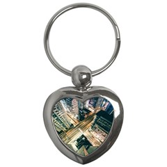 Architecture Buildings City Key Chains (heart)