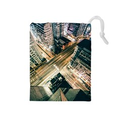 Architecture Buildings City Drawstring Pouches (medium)  by Amaryn4rt