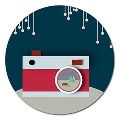Camera Vector Illustration Magnet 5  (round) by Amaryn4rt