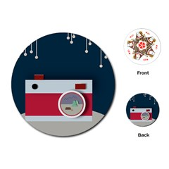 Camera Vector Illustration Playing Cards (round)  by Amaryn4rt