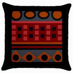 Red Aztec Throw Pillow Case (black) by Jojostore