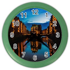 Hamburg City Blue Hour Night Color Wall Clocks by Amaryn4rt