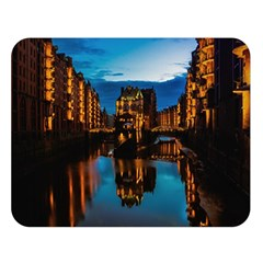 Hamburg City Blue Hour Night Double Sided Flano Blanket (large)  by Amaryn4rt