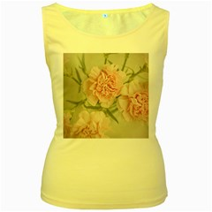 Cloves Flowers Pink Carnation Pink Women s Yellow Tank Top
