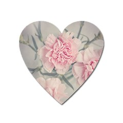 Cloves Flowers Pink Carnation Pink Heart Magnet by Amaryn4rt