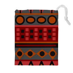 Red Aztec Drawstring Pouches (extra Large)