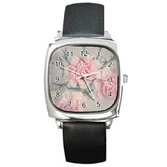 Cloves Flowers Pink Carnation Pink Square Metal Watch by Amaryn4rt