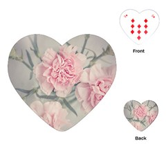 Cloves Flowers Pink Carnation Pink Playing Cards (heart)  by Amaryn4rt
