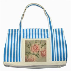 Cloves Flowers Pink Carnation Pink Striped Blue Tote Bag by Amaryn4rt
