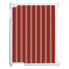 Pattern Background Red Stripes Apple Ipad 2 Case (white) by Amaryn4rt