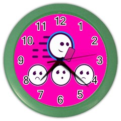 Run Face Pink Color Wall Clocks by Jojostore