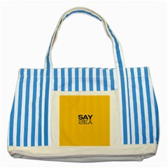 Say Yes Striped Blue Tote Bag