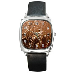 Ice Iced Structure Frozen Frost Square Metal Watch by Amaryn4rt