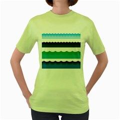 Water Border Water Waves Ocean Sea Women s Green T Shirt by Amaryn4rt