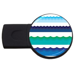 Water Border Water Waves Ocean Sea Usb Flash Drive Round (2 Gb)  by Amaryn4rt