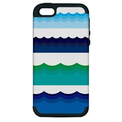 Water Border Water Waves Ocean Sea Apple Iphone 5 Hardshell Case (pc+silicone)