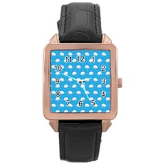 Seamless Fluffy Cloudy And Sky Rose Gold Leather Watch