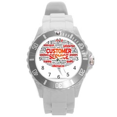 Support Round Plastic Sport Watch (l) by Jojostore