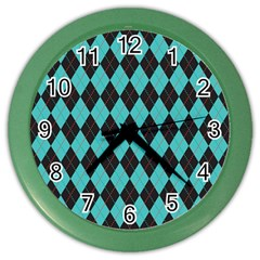 Tumblr Static Argyle Pattern Blue Black Color Wall Clocks by Jojostore