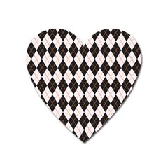 Tumblr Static Argyle Pattern Gray Brown Heart Magnet by Jojostore