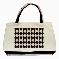 Tumblr Static Argyle Pattern Gray Brown Basic Tote Bag (two Sides) by Jojostore