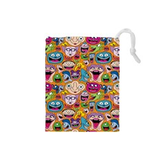 Smiley Pattern Drawstring Pouches (small)